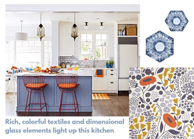 interior design trends 2018, rich, colorful textiles and dimensional glass elements light up this kitchen