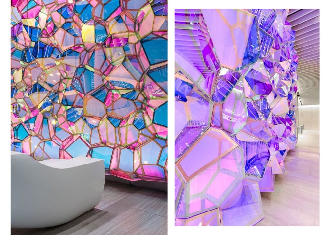 a stunning geometric wall sculpture alive with iridescent colors