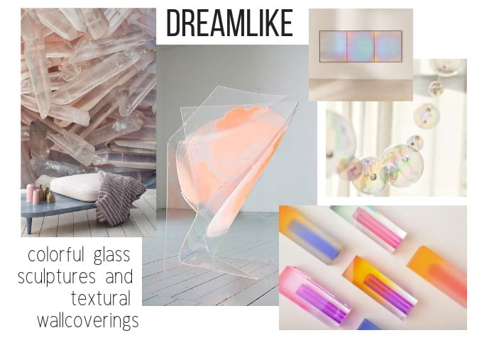 Colorful glass sculptures and textural wallcoverings
