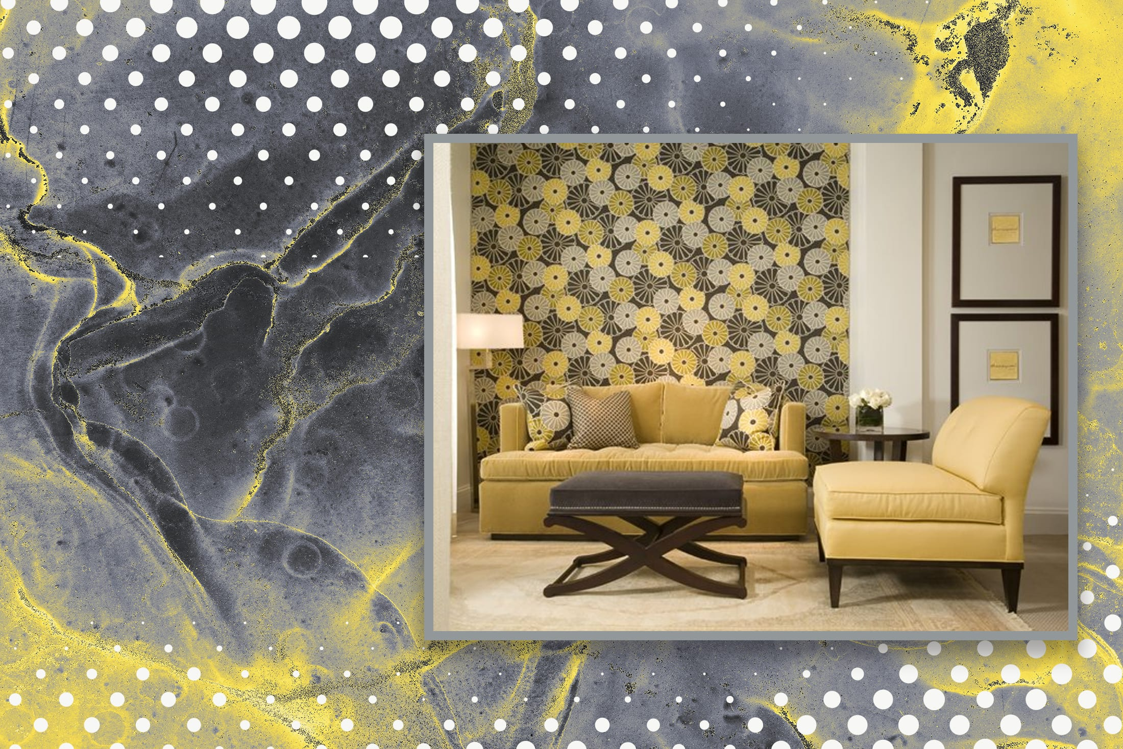Ultimate Grey and Illuminating Yellow as used in wall patterns.